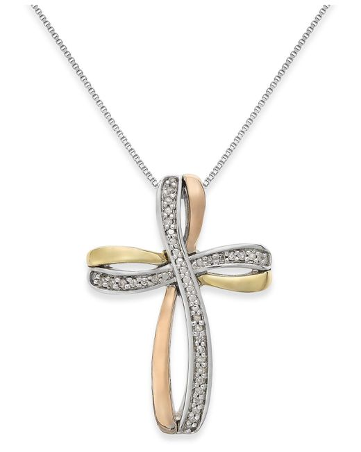 Macy's - Metallic Diamond Tri-tone Cross Pendant Necklace In 14k Gold And Sterling Silver (1/10 Ct. T.w.) - Lyst