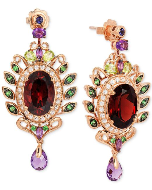 Le Vian | Multicolor Oval-cut Garnet (10 Ct. T.w.) And Multistone (3-5/8 Ct. T.w.) Drop Earrings In 14k Rose Gold | Lyst