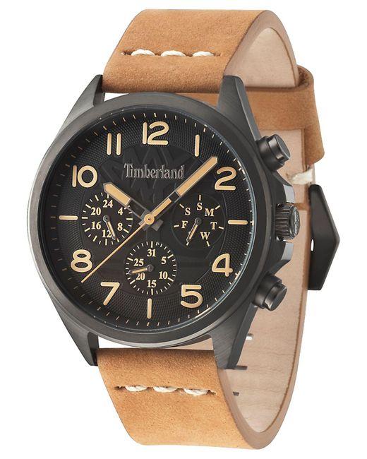 Timberland   Men's Brant Light Brown Leather Strap Watch 45x53mm Tbl14844jsu02 for Men   Lyst