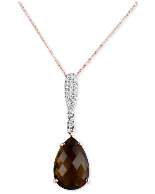"Macy's - Metallic Smoky Quartz (5-1/2 Ct. T.w.) & Diamond (1/6 Ct. T.w.) 16"" Pendant Necklace In 14k Rose & White Gold - Lyst"