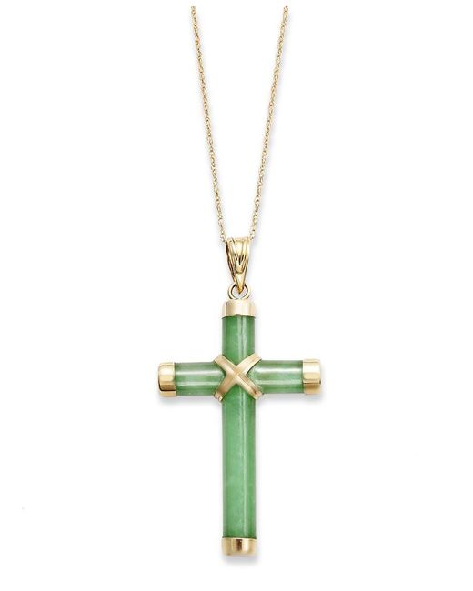Macy's | Metallic Jade Cross Pendant Necklace In 10k Gold (20 Ct. T.w.) | Lyst