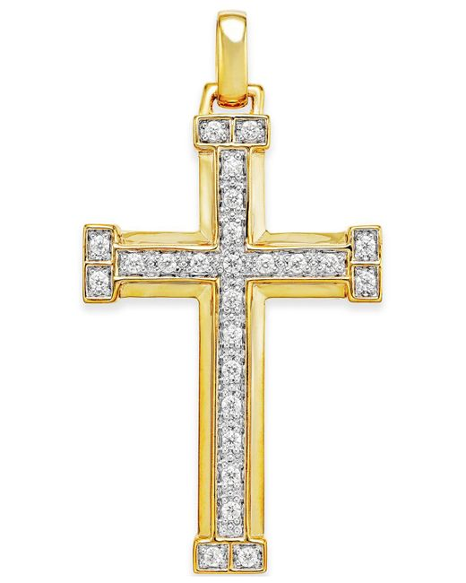 Macy's - Metallic Men's Diamond Cross Pendant (3/8 Ct. T.w.) In 10k Gold for Men - Lyst