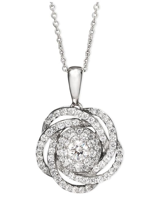 Wrapped in Love - Metallic Tm Diamond Knot Pendant Necklace In 14k White Gold (1 Ct. T.w.) - Lyst