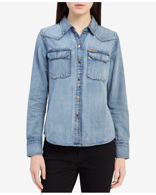 Calvin Klein Jeans - Blue Cotton Denim Shirt - Lyst