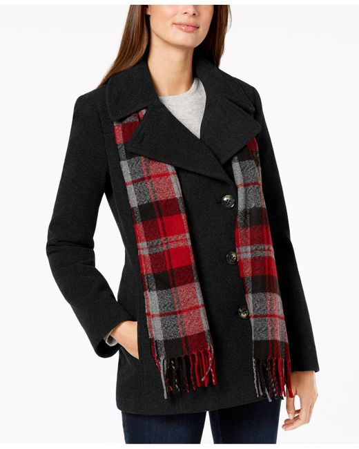 London Fog - Black Petite Double-breasted Peacoat & Scarf - Lyst