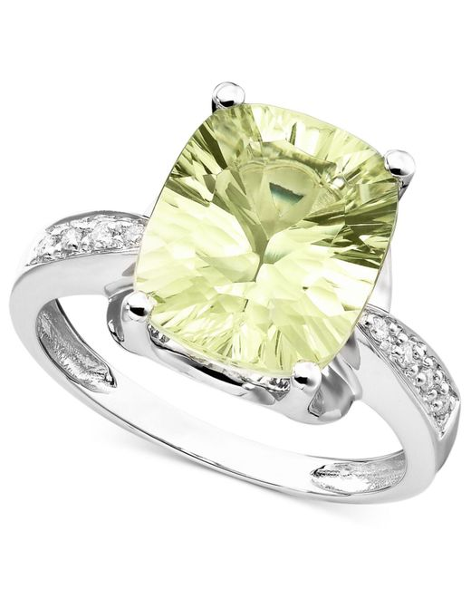 Macy's - Gray 14k White Gold Ring, Green Quartz (4-3/8 Ct. T.w.) And Diamond Accent - Lyst