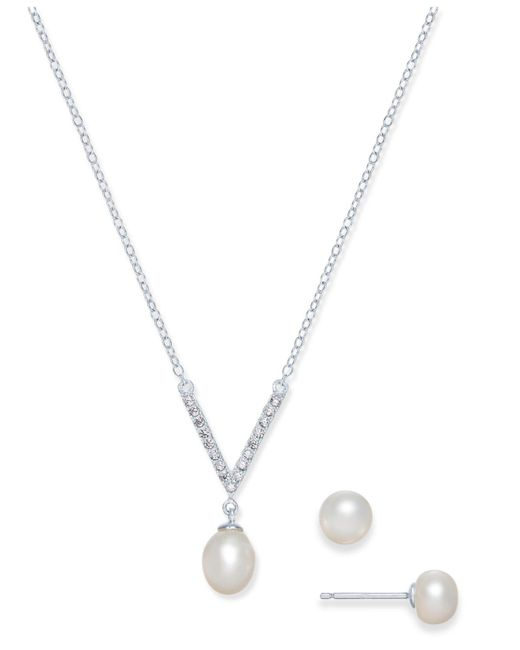 Macy's - Metallic Cultured Freshwater Pearl (7 X 9mm & 6mm) & Cubic Zirconia Jewelry Set In Sterling Silver - Lyst