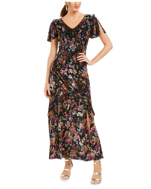 INC International Concepts Black Inc Floral-print Velvet Maxi Dress, Created For Macy's