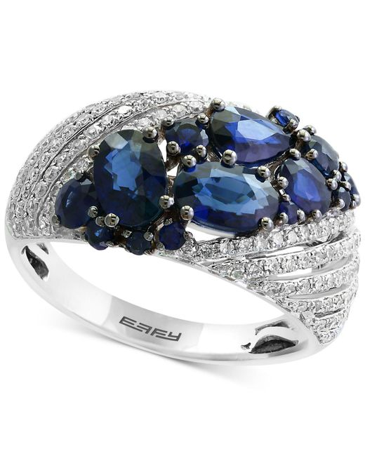 Effy Collection - Blue Sapphire (2-1/10 Ct. T.w.) And Diamond (3/8 Ct. T.w.) Ring In 14k White Gold - Lyst