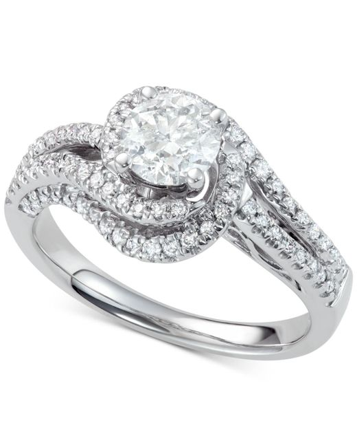 Macy's - Metallic Diamond Twisted Halo Engagement Ring (1-3/4 Ct. T.w.) In 14k White Gold - Lyst