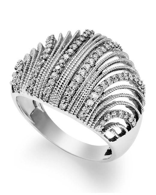 Macy's Metallic Diamond Shell Ring In Sterling Silver (1/2 Ct. T.w.)
