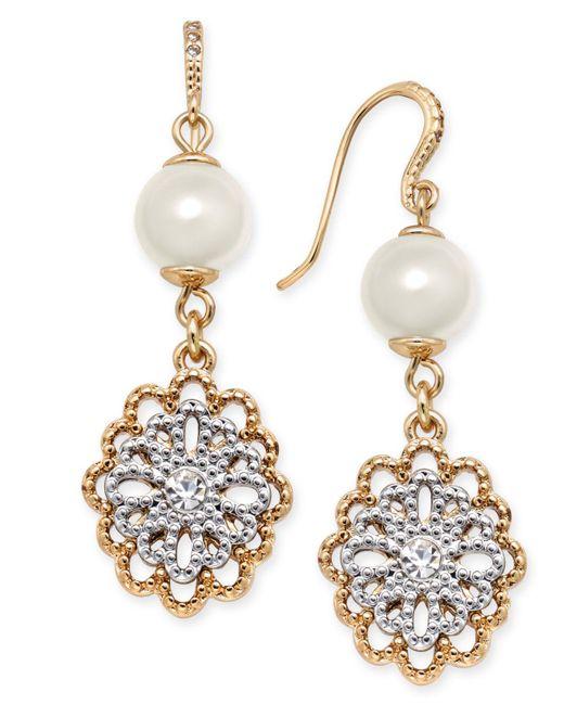 Charter Club Metallic Two-tone Crystal Filigree & Imitation Pearl Drop Earrings