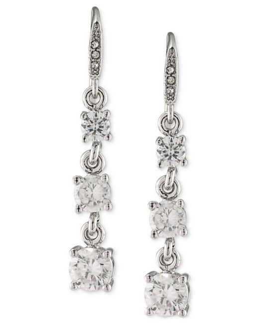 Carolee | Metallic Silver-tone Graduated Crystal Linear Drop Earrings | Lyst