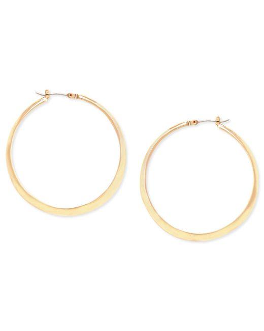 Kenneth Cole   Metallic Earrings, Gold-tone Textured Hoop Earrings   Lyst
