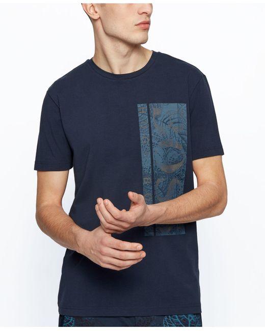 BOSS by Hugo Boss Blue Stretch-cotton T-shirt for men