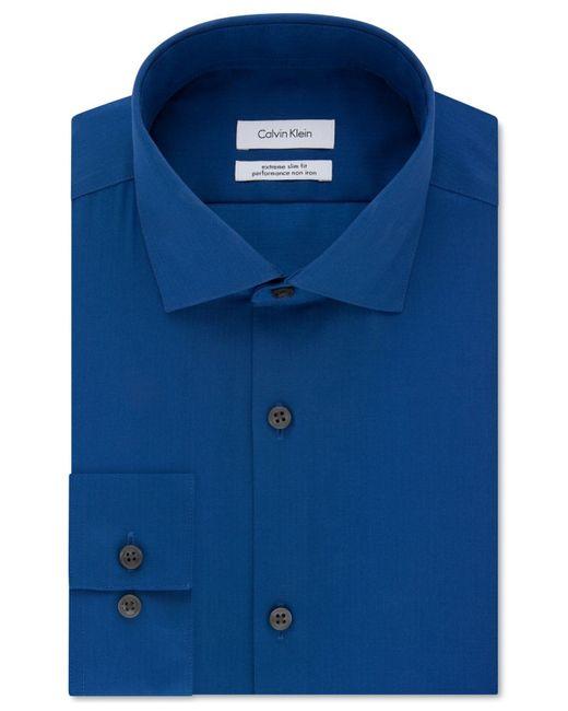 Calvin Klein Blue Steel Extra-slim Fit Non-iron Performance Herringbone Dress Shirt for men