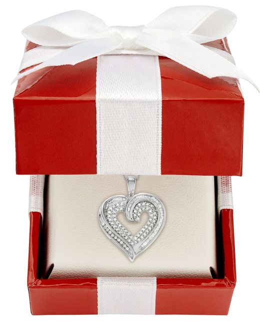 Macy's | Diamond Baguette Heart Necklace In 10k Gold Or White Gold (3/8 Ct. T.w.) | Lyst