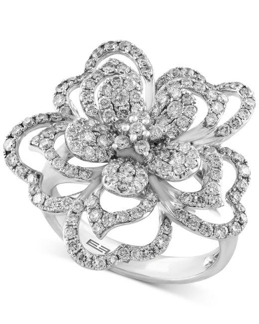 Effy Collection | Metallic Diamond Flower Ring (1-1/3 Ct. T.w.) In 14k White Gold | Lyst