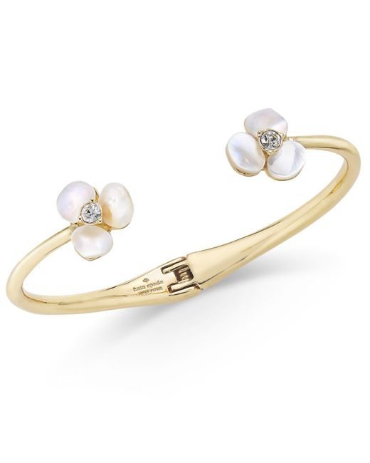 Kate Spade - Metallic Gold-tone Pavé & Imitation Pearl Hinged Slim Cuff Bracelet - Lyst