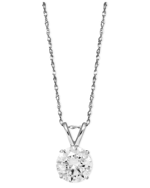 Arabella | Metallic 14k White Gold Necklace, Swarovski Zirconia Round Pendant (2-1/6 Ct. T.w.) | Lyst