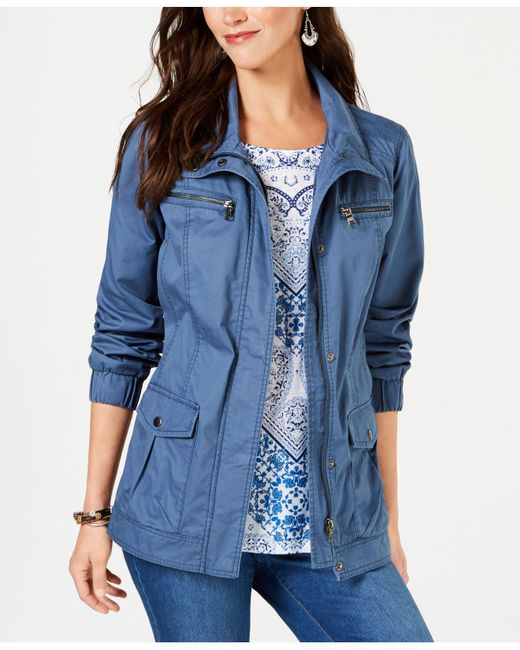Style & Co. - Blue Cotton Cargo Zip-front Jacket, Created For Macy's - Lyst