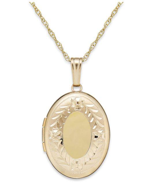 Macy's | Metallic Engraved Oval Locket In 14k Gold | Lyst