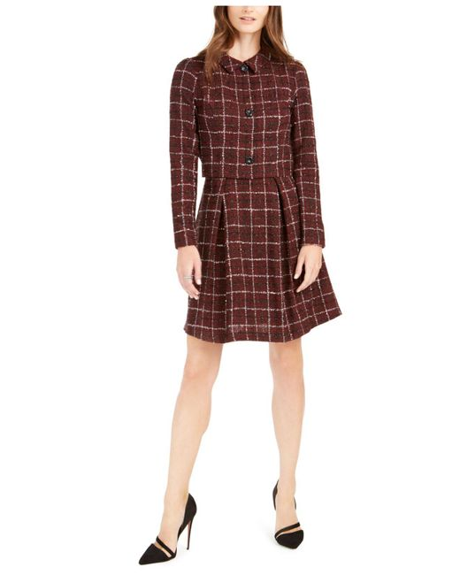 Julia Jordan Red Plaid Tweed Jacket Dress