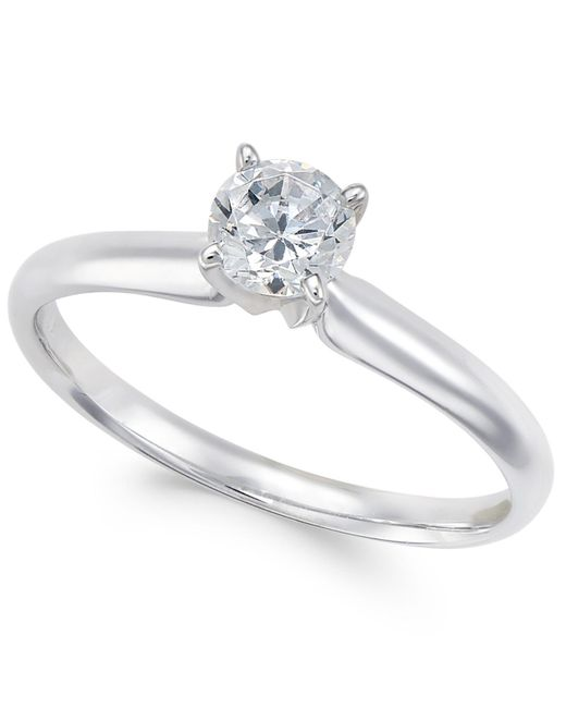 Macy's   Metallic Diamond Solitaire Engagement Ring (1/2 Ct. T.w.) In 18k White Gold   Lyst