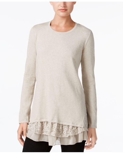Style & Co. | Multicolor Petite Mixed-media Tunic | Lyst