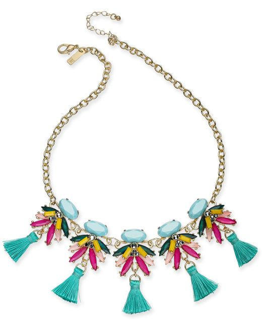 "INC International Concepts - Blue I.n.c. Gold-tone Multi-stone & Tassel Statement Necklace, 18"" + 3"" Extender, Created For Macy's - Lyst"