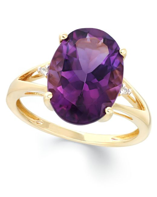 Macy's | Metallic Amethyst (5 Ct. T.w.) And Diamond Accent Ring In 14k Gold | Lyst