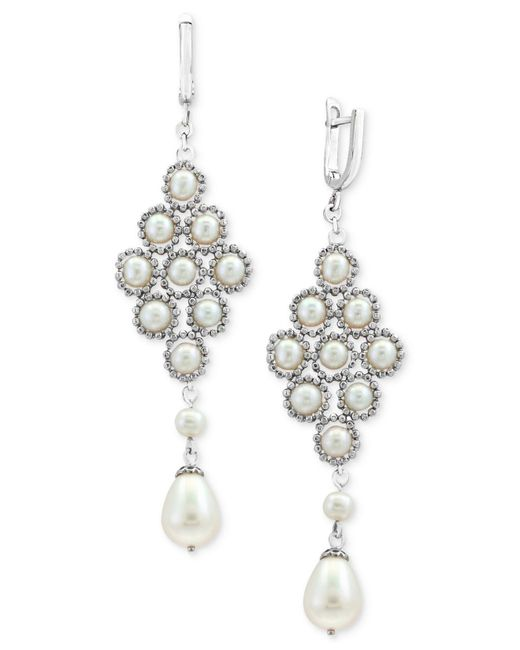 Effy Collection | Metallic Cultured Freshwater Pearl (4-1/2mm, 8-1/2mm) Lace Drop Earrings In Sterling Silver | Lyst