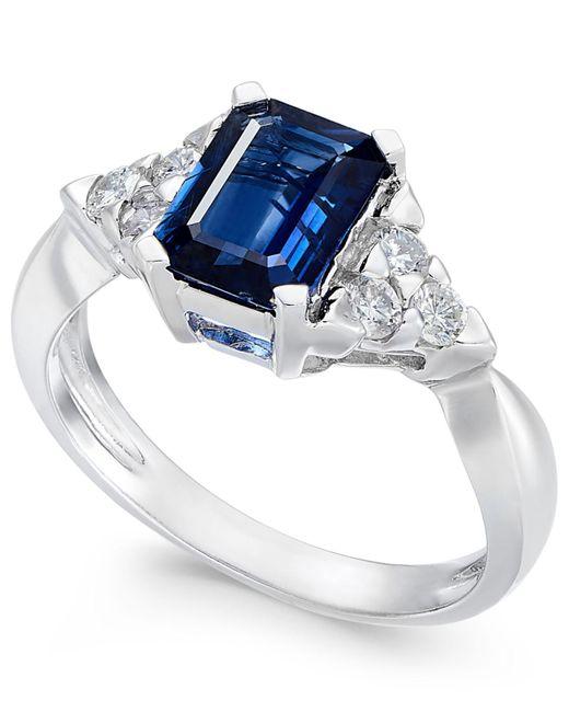 Macy's - Metallic Sapphire (1-3/4 Ct. T.w.) & Diamond (1/4 Ct. T.w.) Ring In 14k White Gold - Lyst