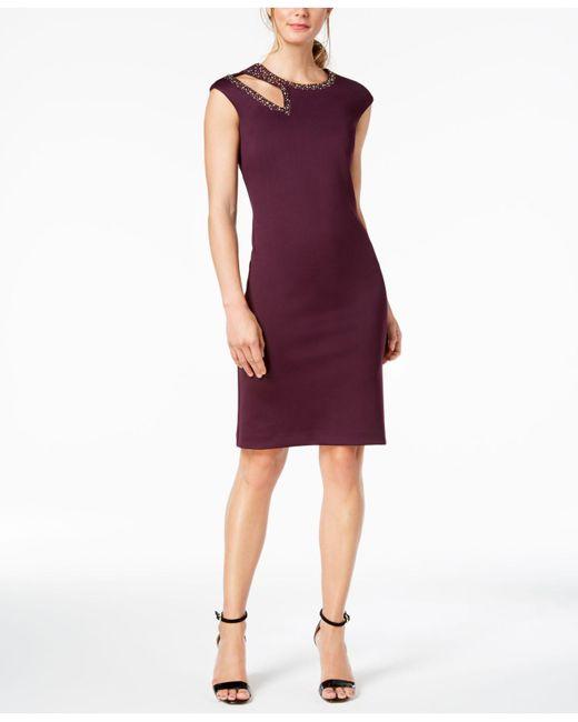 Calvin Klein Purple Embellished Cutout Sheath Dress Lyst