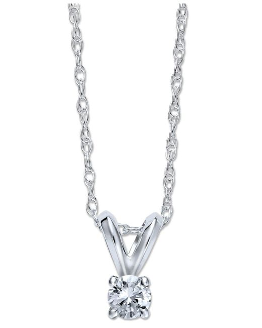 Macy's - White Round-cut Diamond Pendant Necklace In 10k Gold (1/10 Ct. T.w.) - Lyst