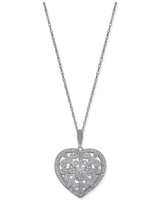 Macy's - Metallic Diamond Filigree Heart Pendant Necklace (1/8 Ct. T.w.) In Sterling Silver - Lyst