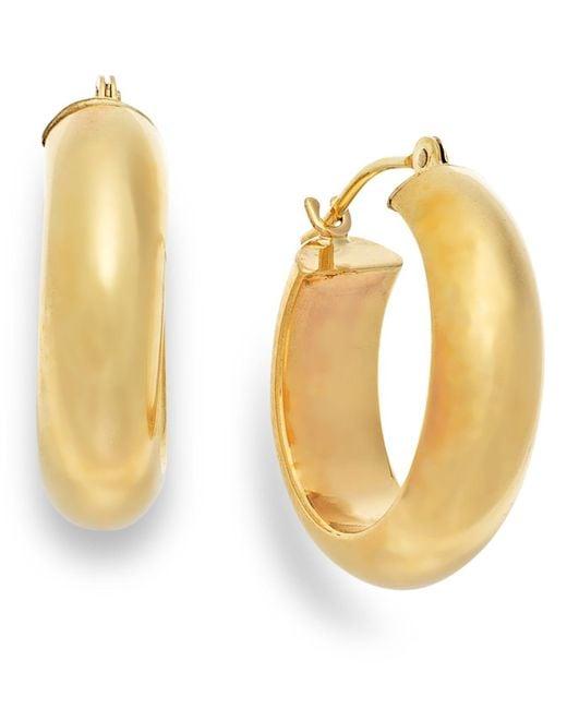 Macy's | Metallic Wide Hoop Earrings In 10k Gold | Lyst