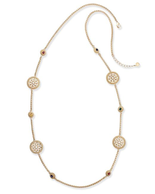 Charter Club - Metallic Gold-tone Colored Stone & Flower Station Necklace - Lyst