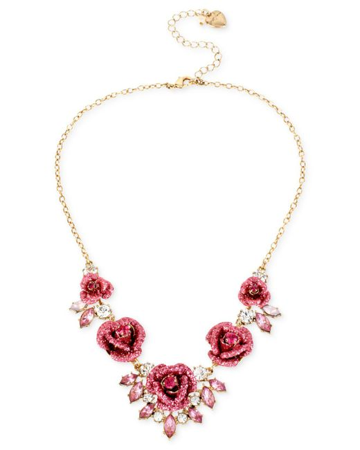 Betsey Johnson - Pink Gold-tone Glitter Rose Frontal Necklace - Lyst