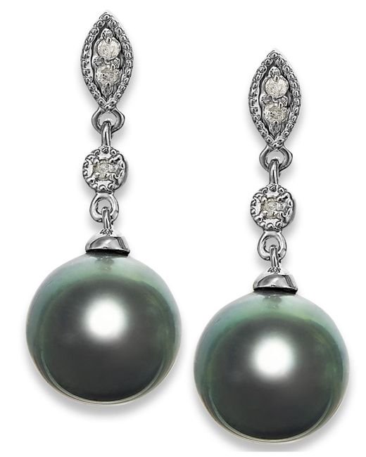 Macy's - Green Tahitian Pearl (8mm) And Diamond Accent Earrings In 14k White Gold - Lyst