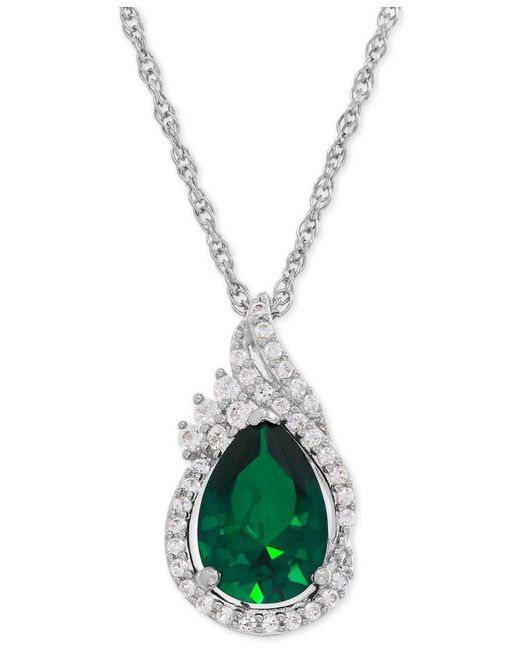 Macy's - Metallic Lab-created Emerald (1-3/4 Ct. T.w.) And White Sapphire (1/4 Ct. T.w.) Teardrop Pendant Necklace In Sterling Silver - Lyst