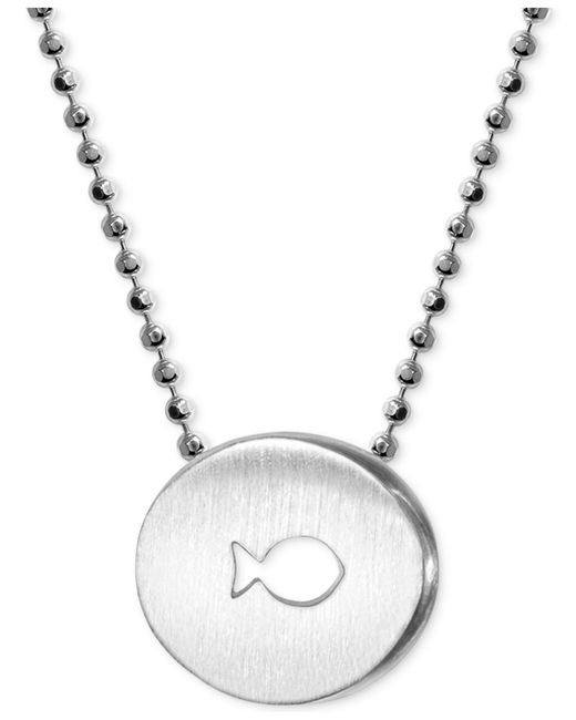 "Alex Woo | Metallic Sterling Silver ""finding Dory"" Fish Disc Pendant Necklace 