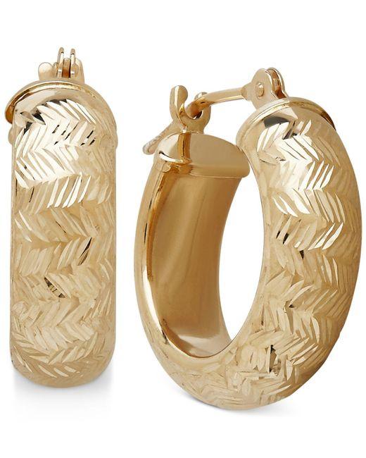 Macy's - Metallic Wide Chevron-design Hoop Earrings In 10k Gold, 3/5 Inch - Lyst