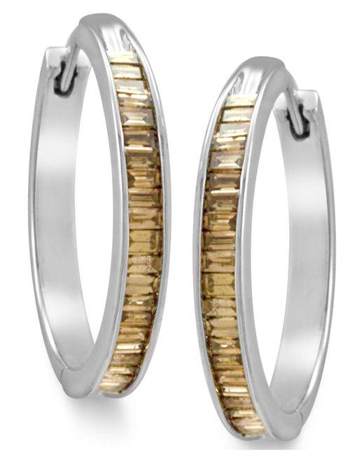 Macy's | Metallic Sterling Silver Earrings, Champagne Diamond Baguette Hoop Earrings (1 Ct. T.w.) | Lyst