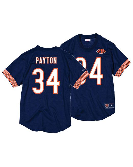 Mitchell & Ness Blue Walter Payton Chicago Bears Mesh Name And Number Crewneck Jersey for men