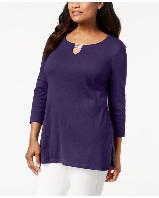 Karen Scott - Purple Split-neck Tunic Top, Created For Macy's - Lyst