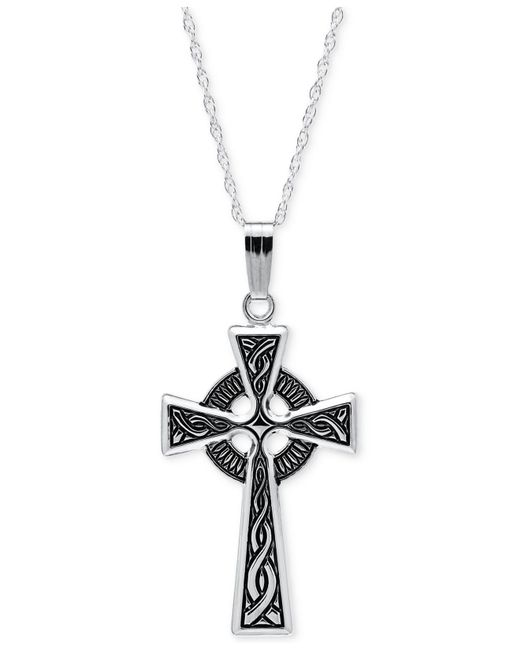 Macy's | Metallic Embossed Celtic Cross Pendant Necklace With Antique Finish In Sterling Silver | Lyst