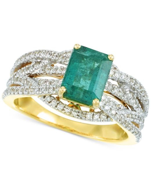 Rare Featuring Gemfields - Metallic Certified Emerald (1-1/5 Ct. T.w.) And Diamond (3/8 Ct. T.w.) Ring In 14k Gold - Lyst