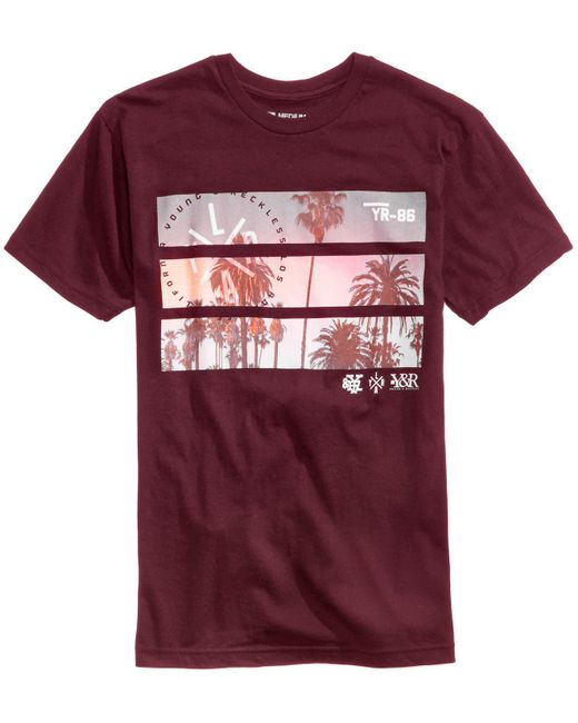 Young reckless men 39 s split view graphic print t shirt in for Vista print tee shirt