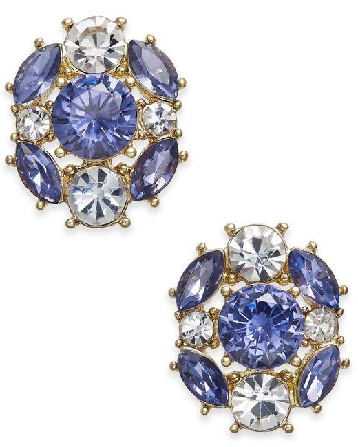 Charter Club | Metallic Gold-tone Blue & Clear Crystal Stud Earrings | Lyst